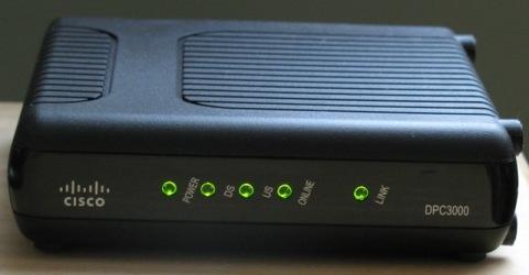 Closeup of Cisco DPC3000 DOCSIS 3.0 modem in action