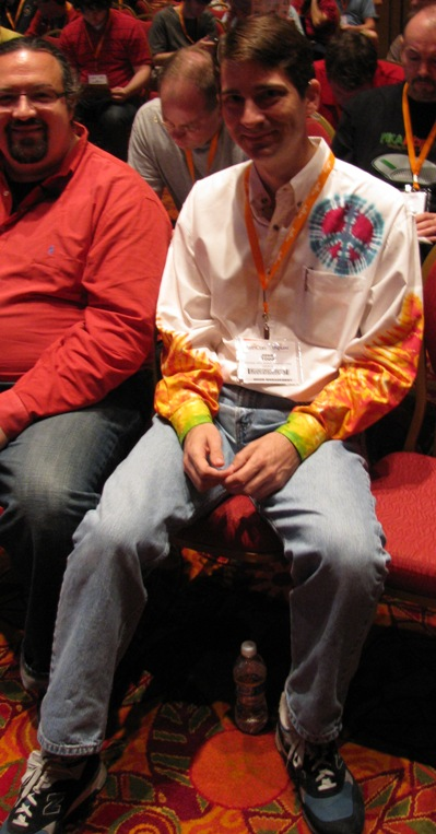 Digium's John Todd showing off his shirt at AstriCon 2009